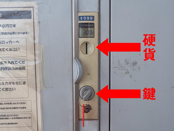 JR福山駅 コインロッカー 硬貨投入口