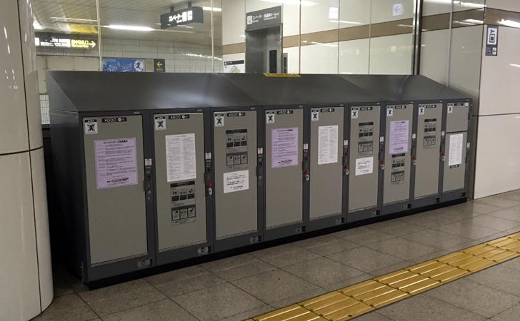 地下鉄名古屋駅西改札付近は大型コインロッカーもある