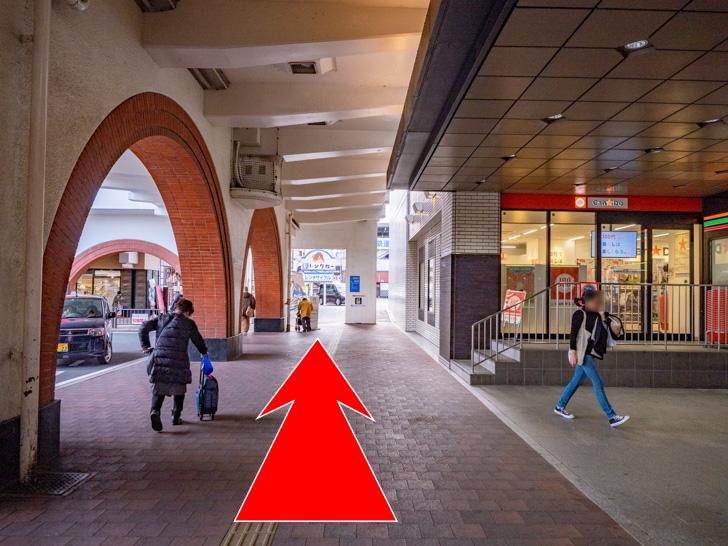 倉敷市駅 コインロッカー 道案内:セブンイレブン・キャンドゥー前を西へ直進