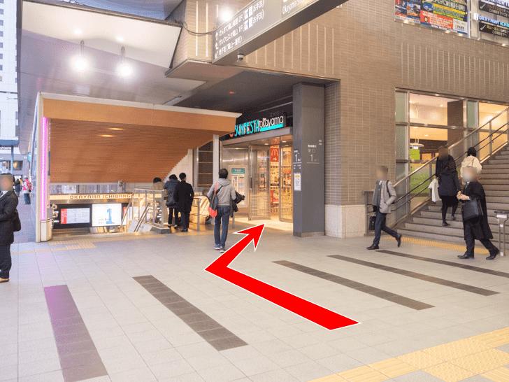 岡山駅 サンフェスタ岡山ミスターミニット奥・ドトール前ロッカーへの行き方 東口階段をおりて左側から1階へ入る