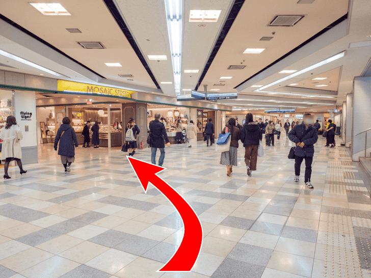 岡山駅 岡山一番街 ATMコーナーのロッカーへの行き方 地下改札口からMOSAIC STREETヘ