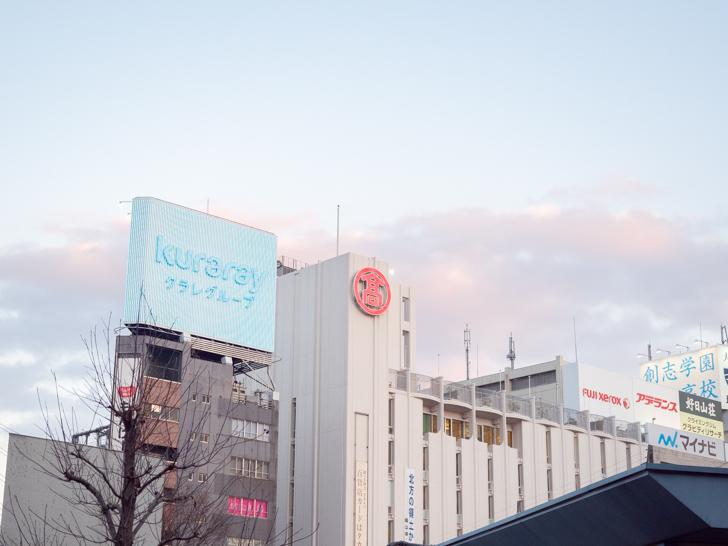 岡山駅 東口から岡山高島屋をのぞむ