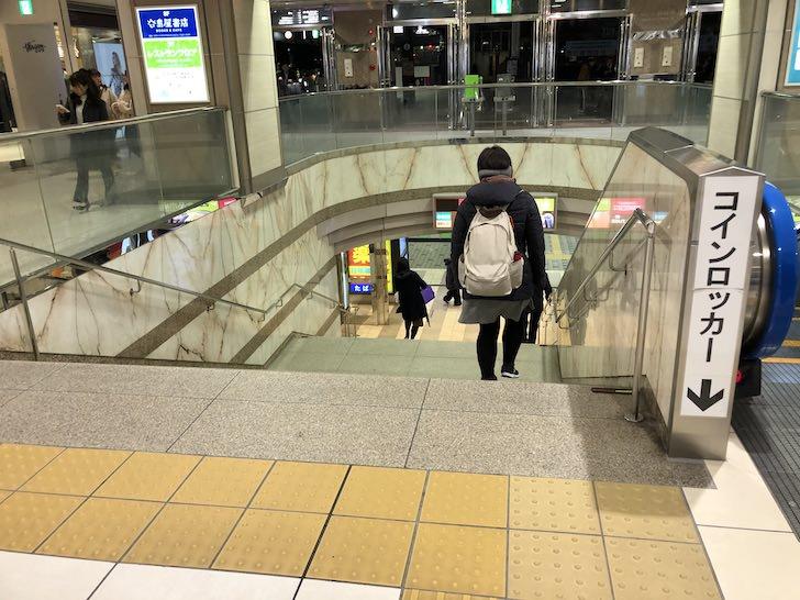 浜松駅北口地下へ降りる階段がこちら